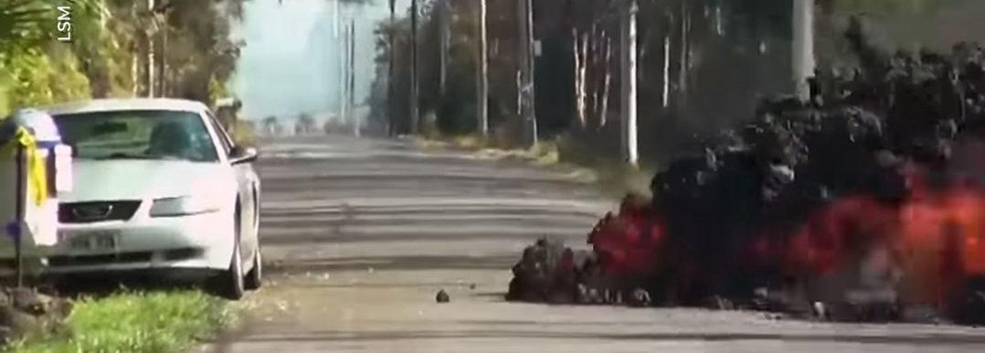 Lavastroom eet auto op 1