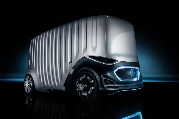 Extreem futuristische bedrijfswagen Mercedes-Benz Vision Urbanetic Driving-Dutchman